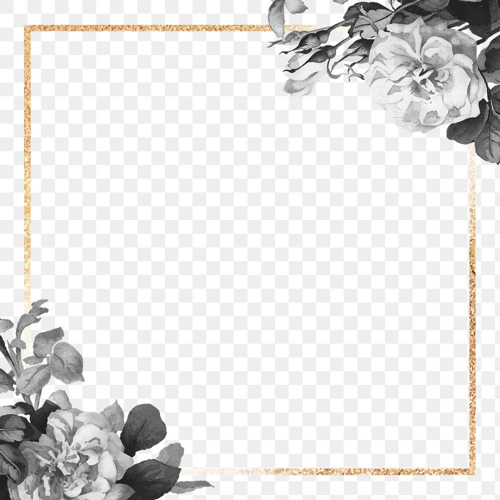 Gold frame with black roses design element