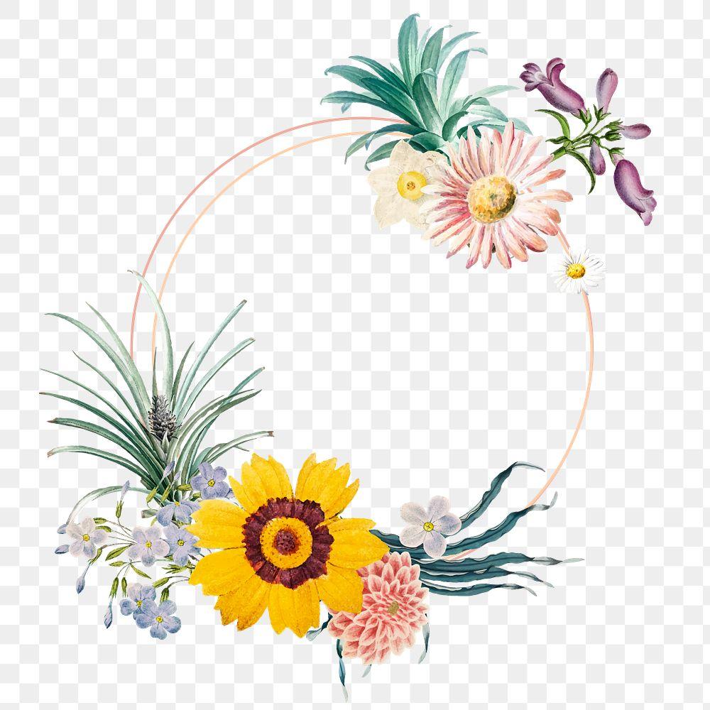 Round elegant floral frame png