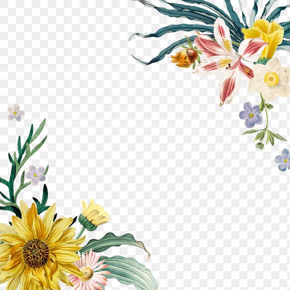 Spring floral png border colorful