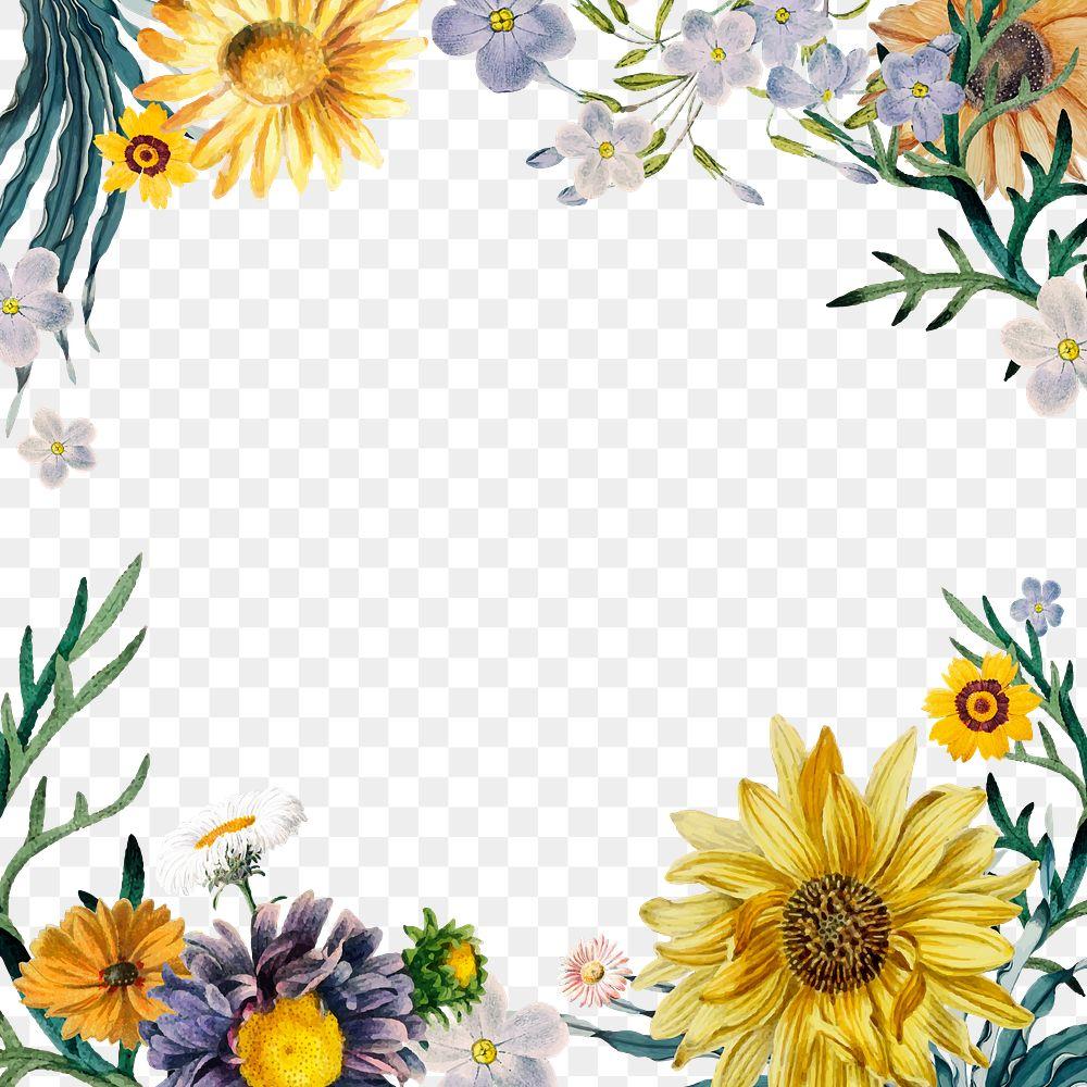 Summer floral border png vintage style