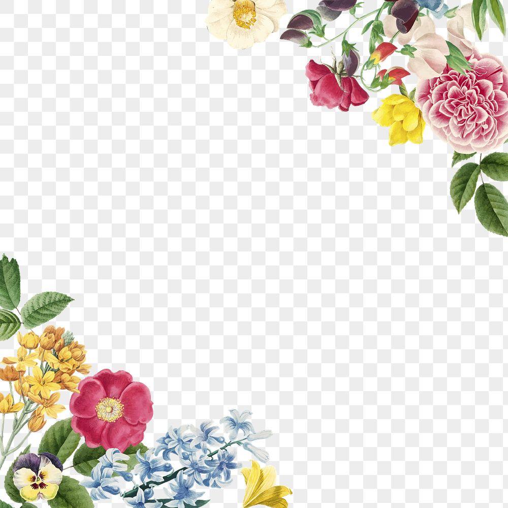 Colorful summer flower decorated frame design element