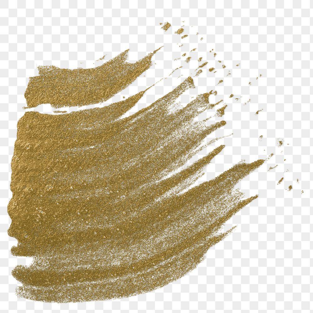 Metallic yellow paint stroke transparent png