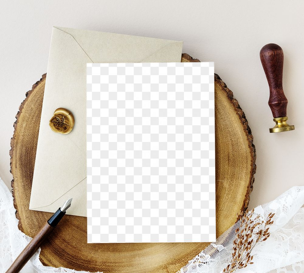 Card mockup with beige envelope on a wooden plate