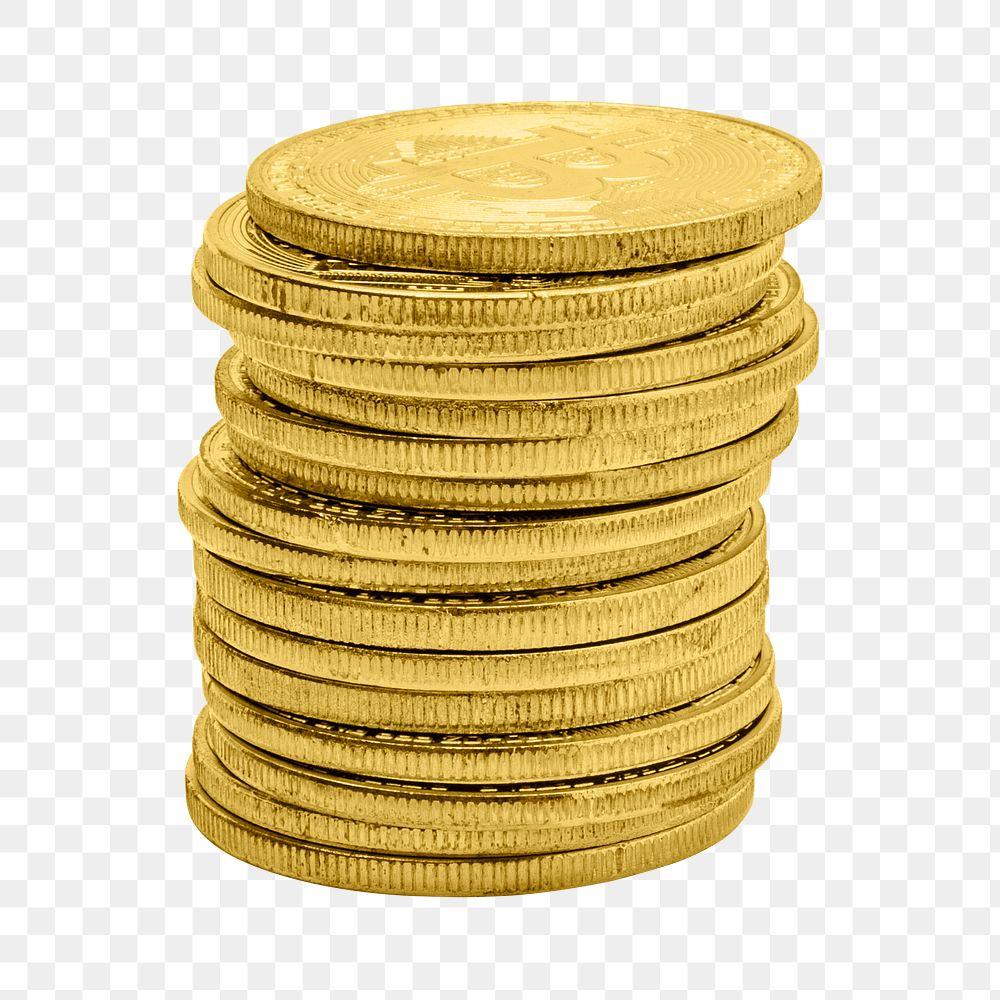 Stack of golden bitcoins design resource