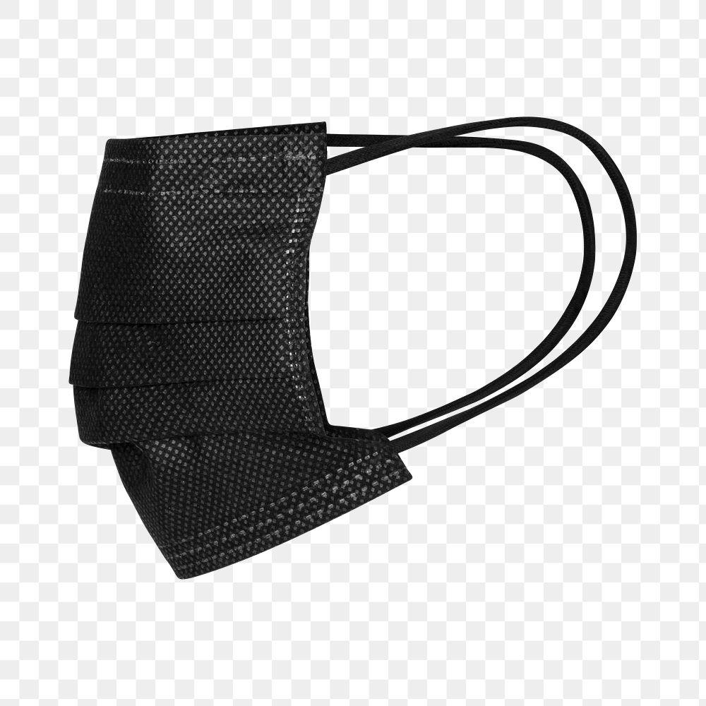 Black disposable medical face mask design element