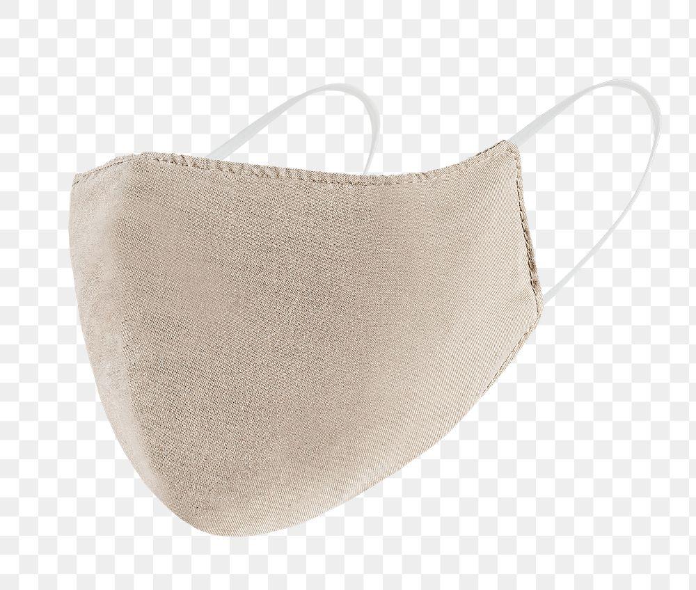 Beige fabric face mask design element