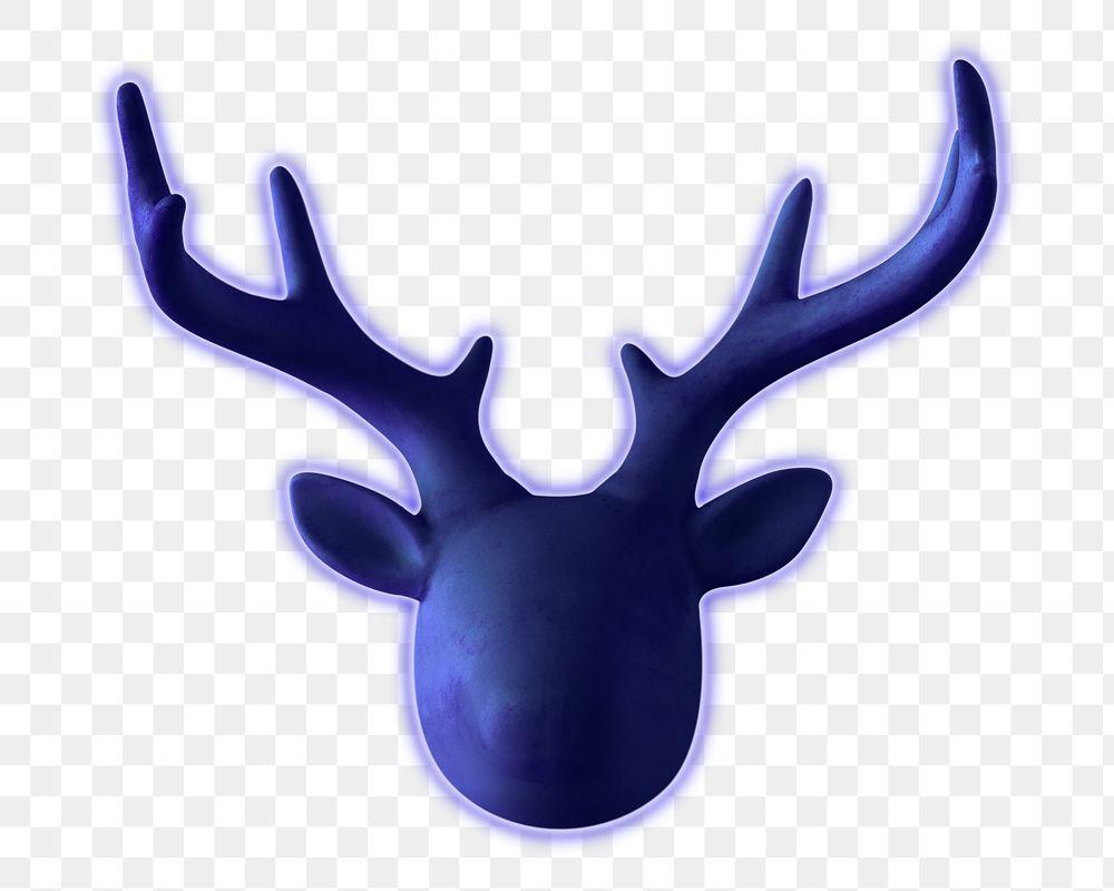 Blue neon decorative deer head design element