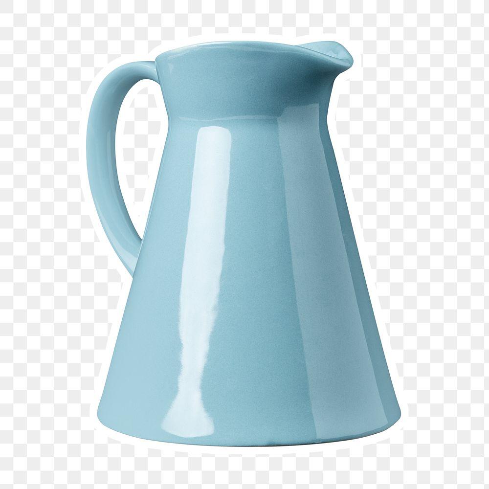 Blue ceramic pitcher sticker design element