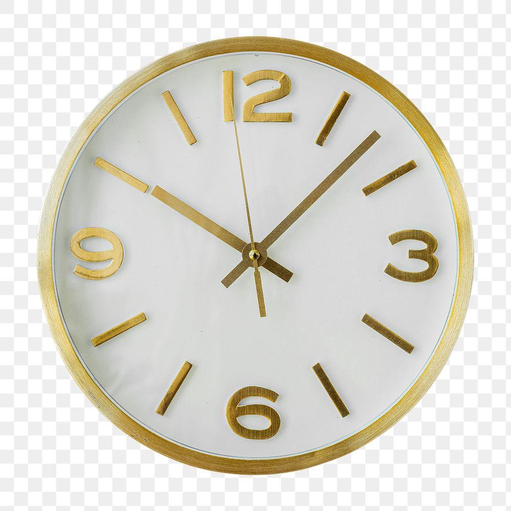 Round gold analog clock design element