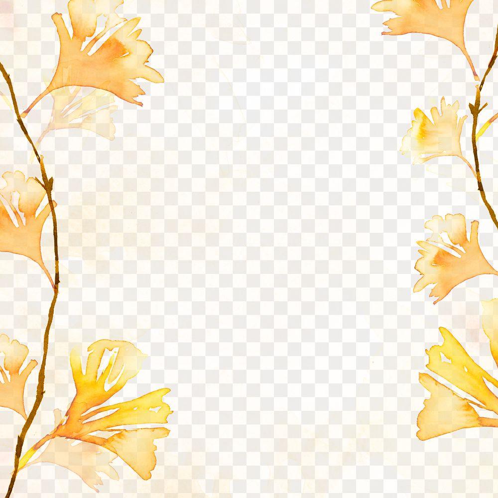 Gingko png leaf border background in orange watercolor autumn season