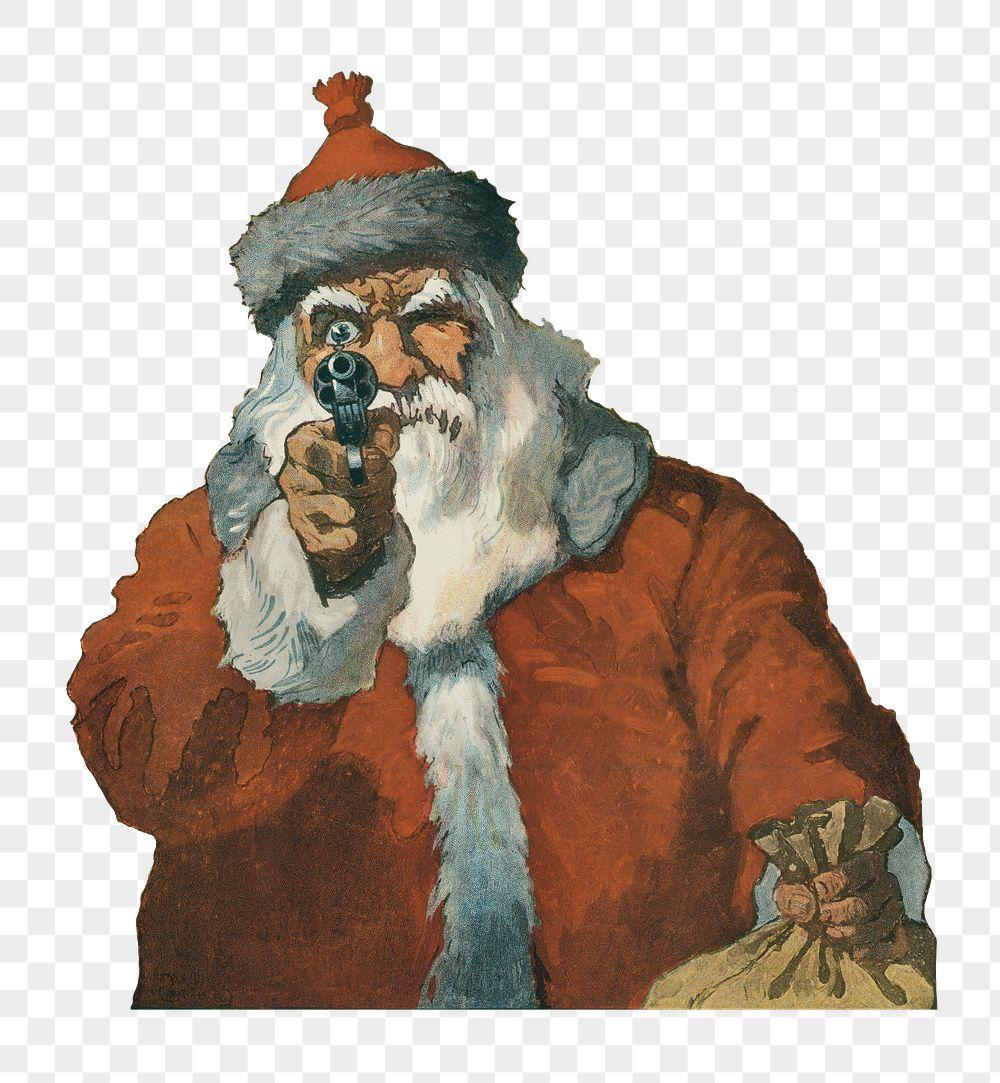 Santa Claus aiming a handgun transparent png
