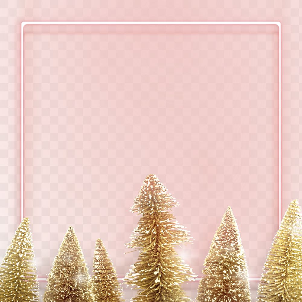 Pink neon frame with gold Christmas trees background transparent png