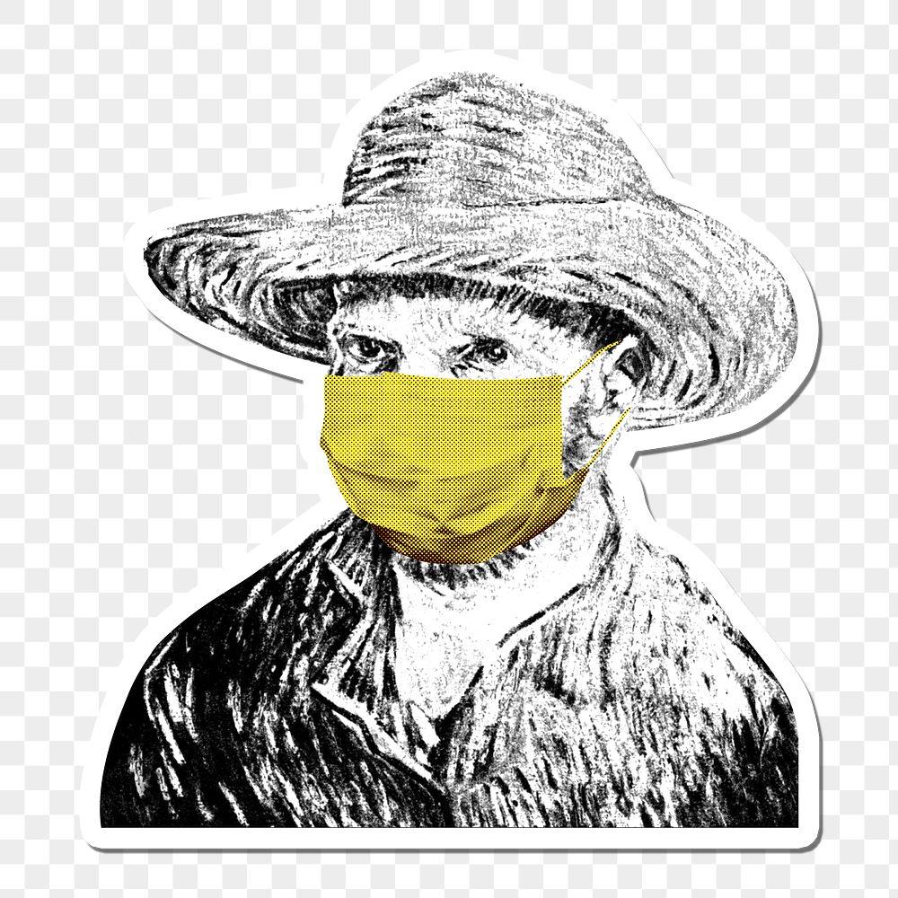 Vincent Van Gogh wearing a face mask during the coronavirus pandemic public domain remix