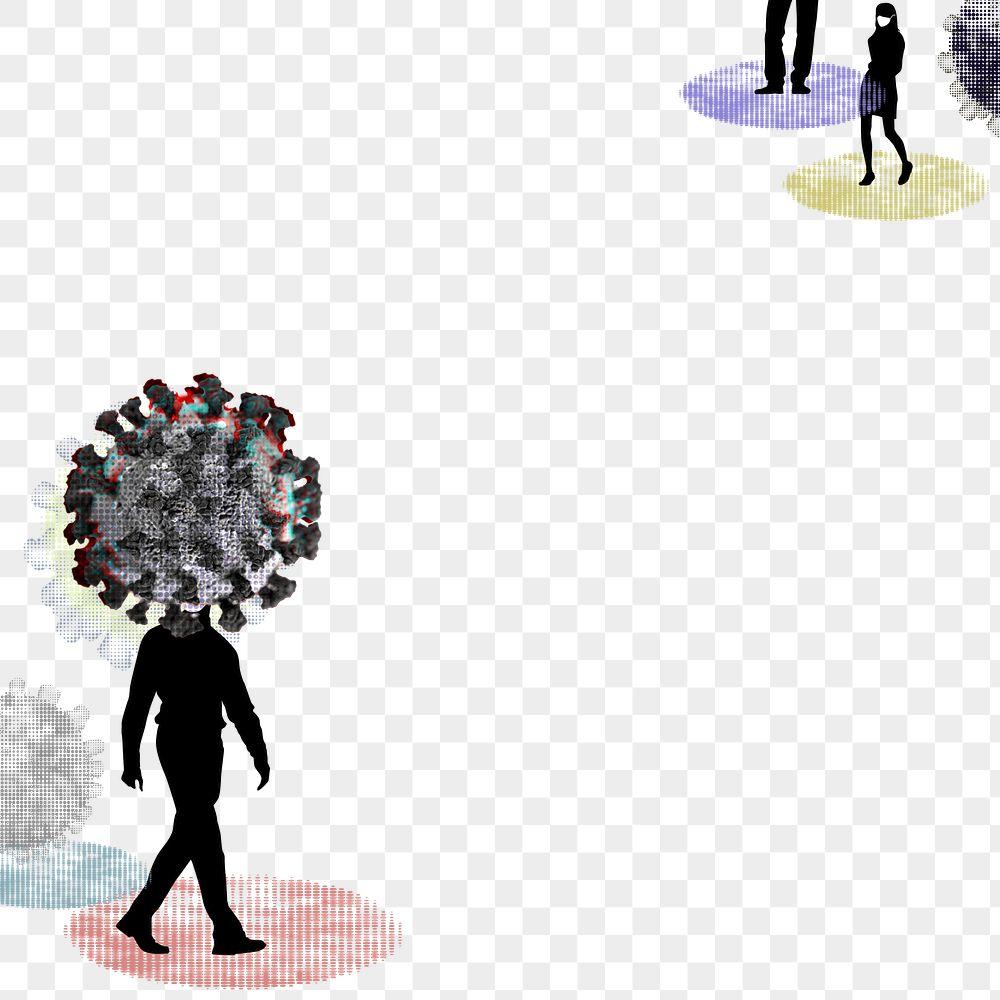 Coronavirus infected man walking in public social template