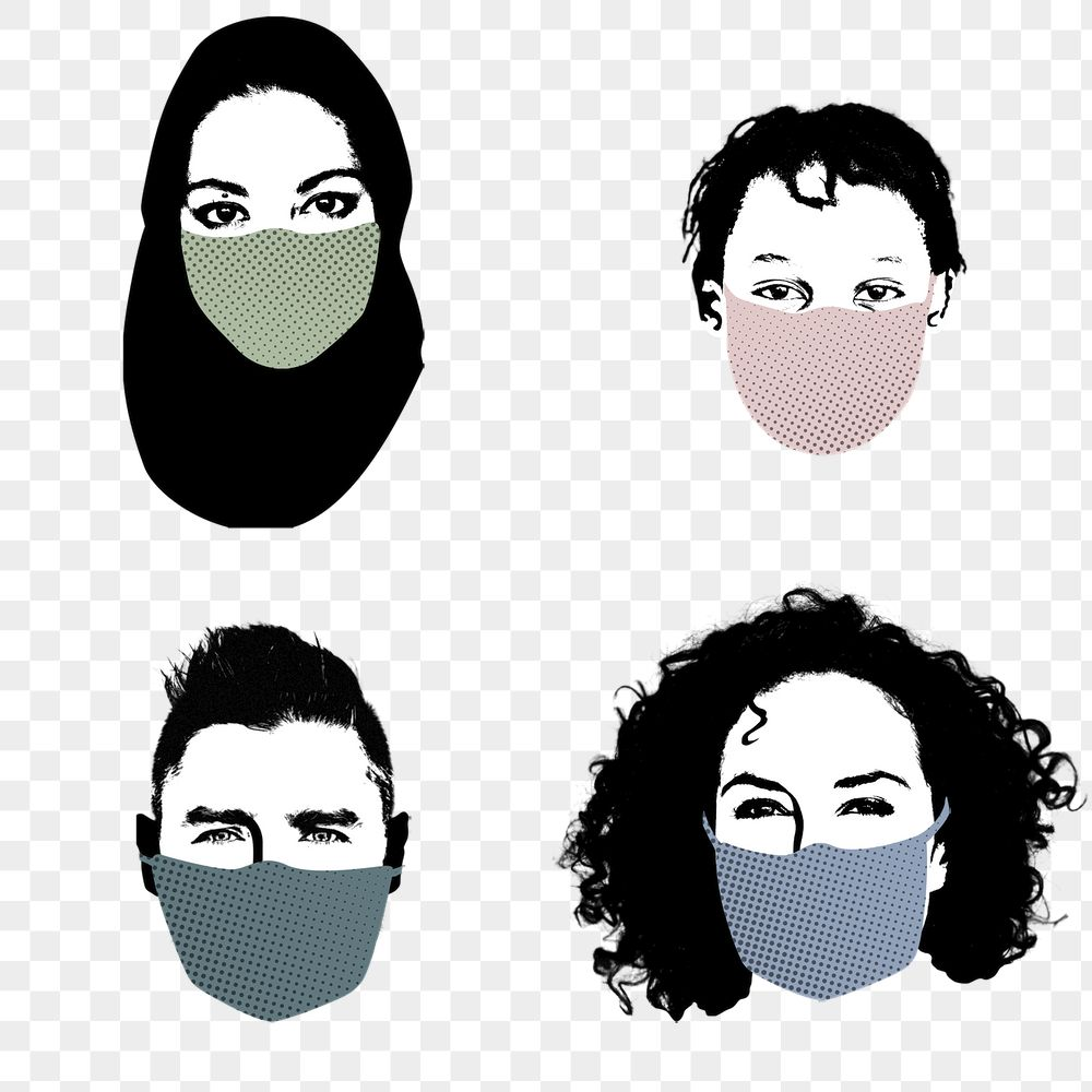 People with face masks during coronavirus outbreak element