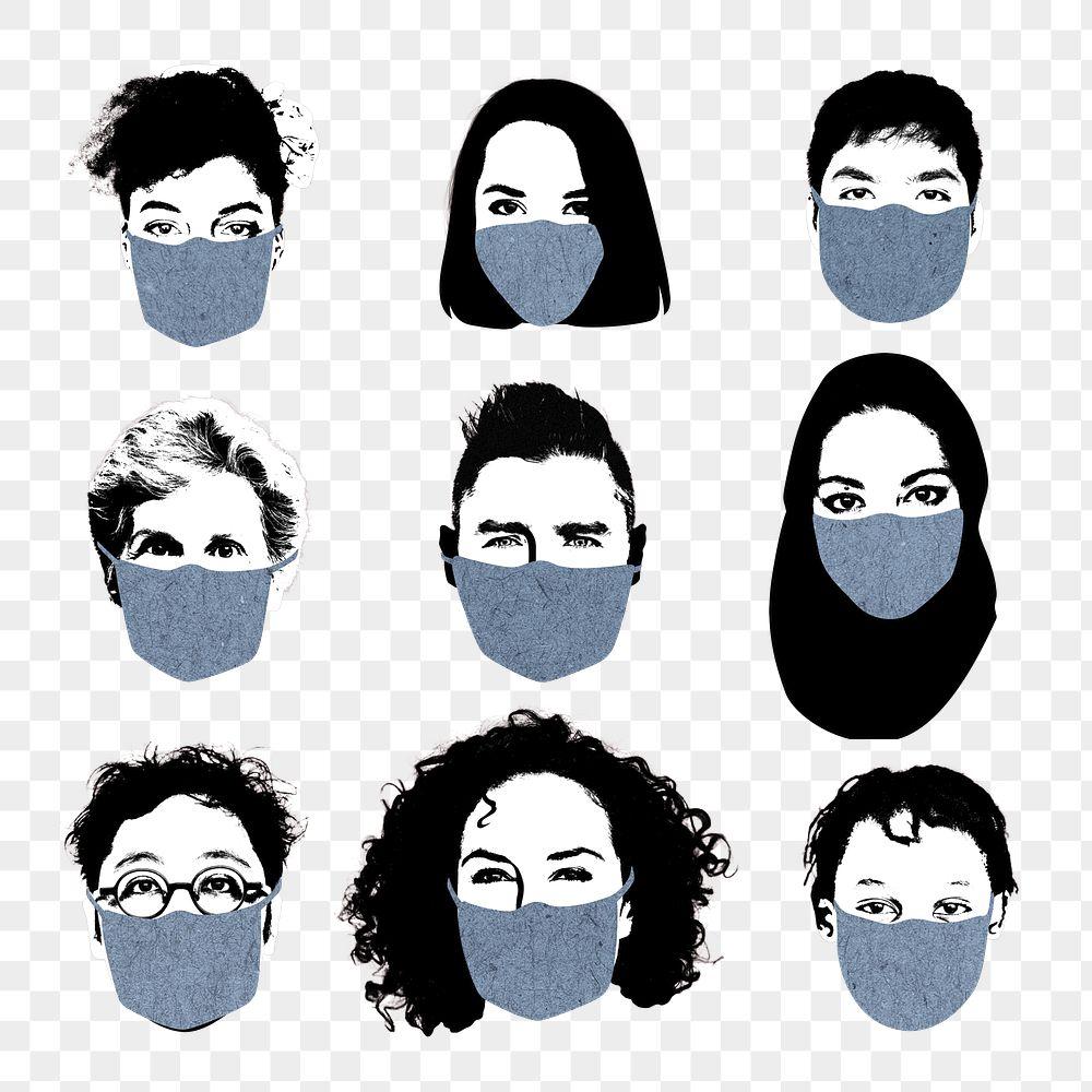 People wearing face masks during coronavirus pandemic transparent png