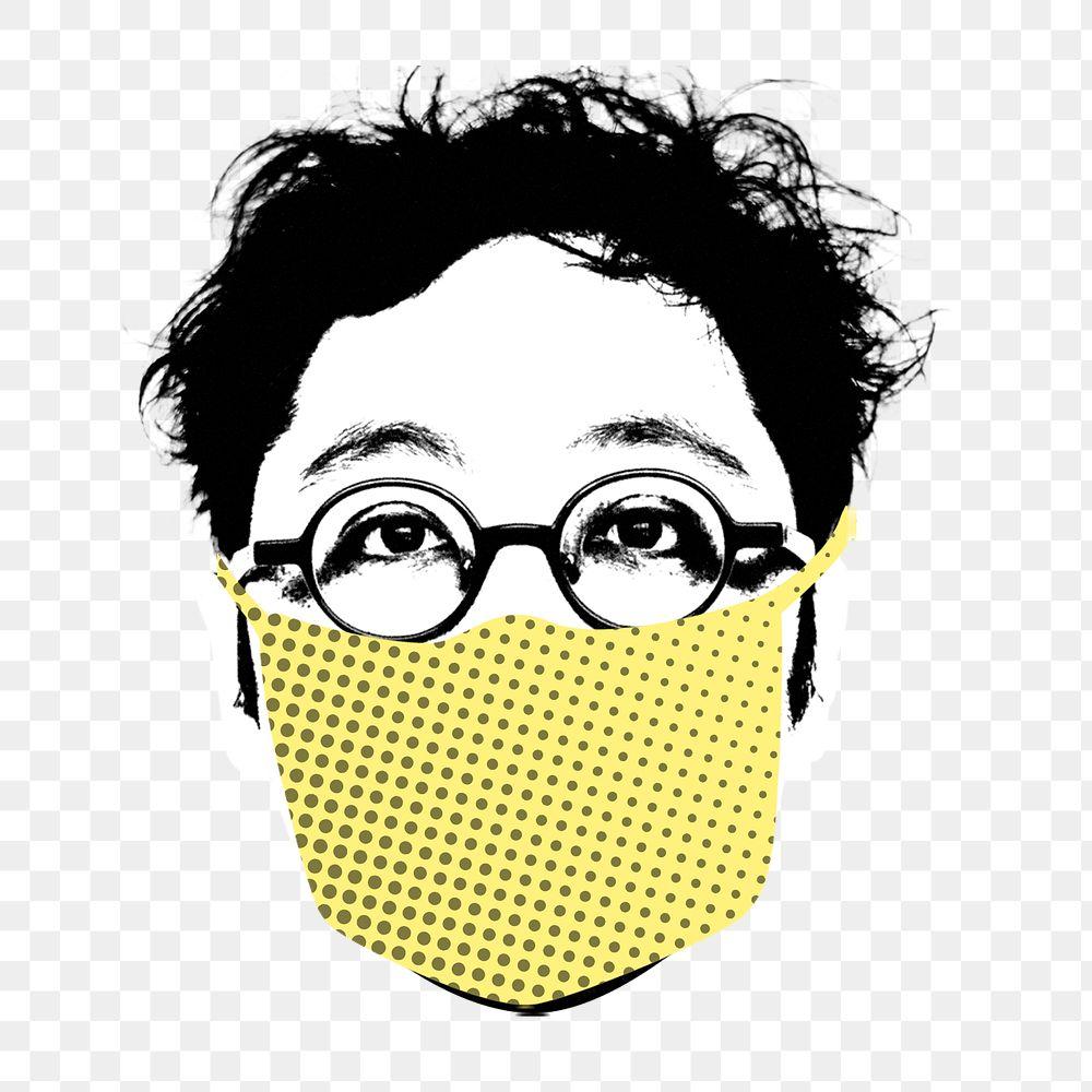 Man wearing a face mask during coronavirus pandemictransparent png