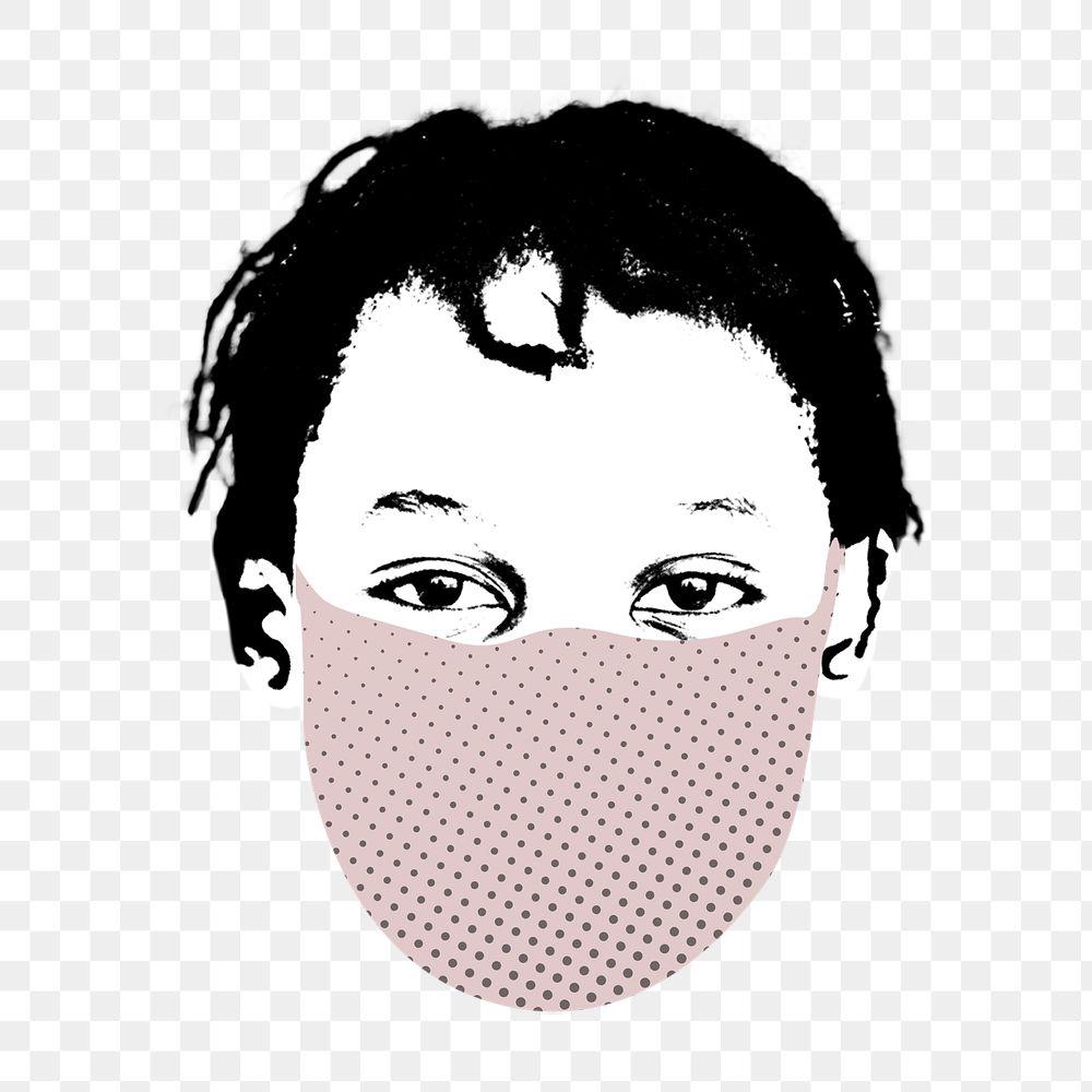 Kid wearing a face mask during coronavirus pandemic transparent png
