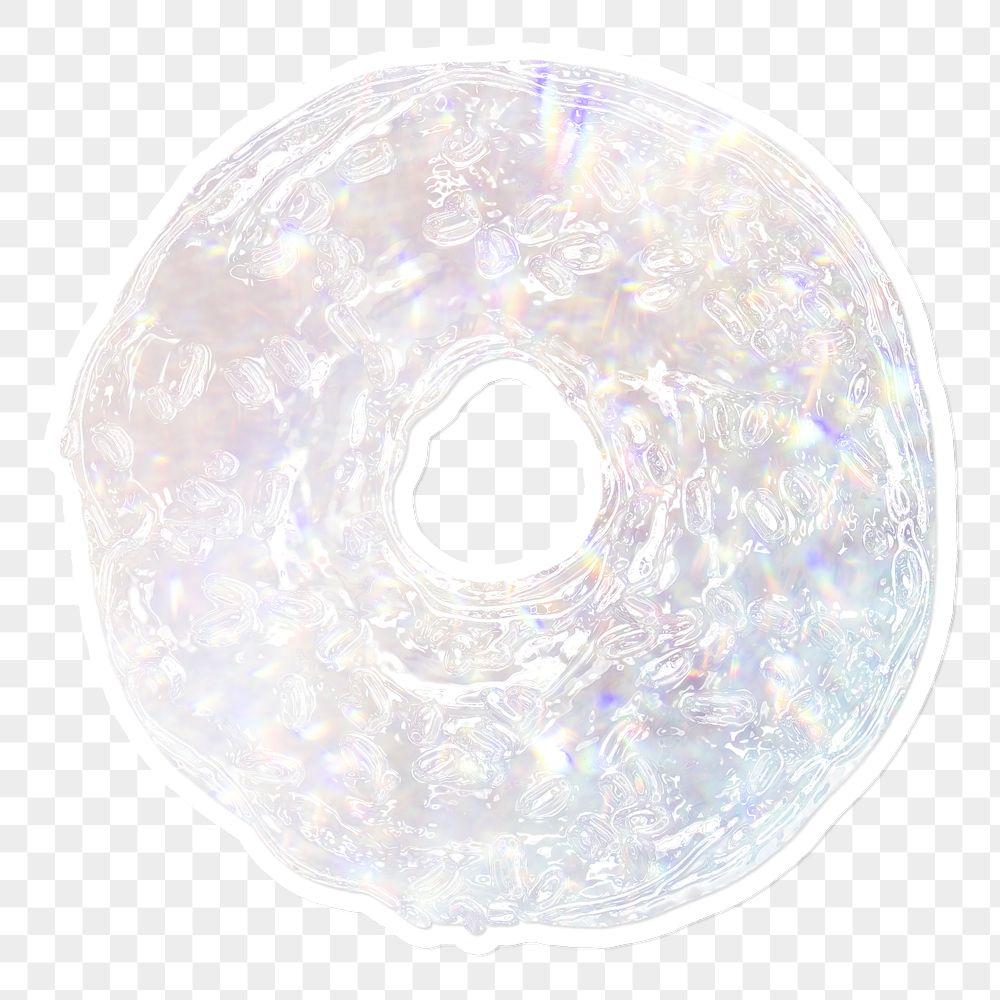 Silver holographic donut illustration