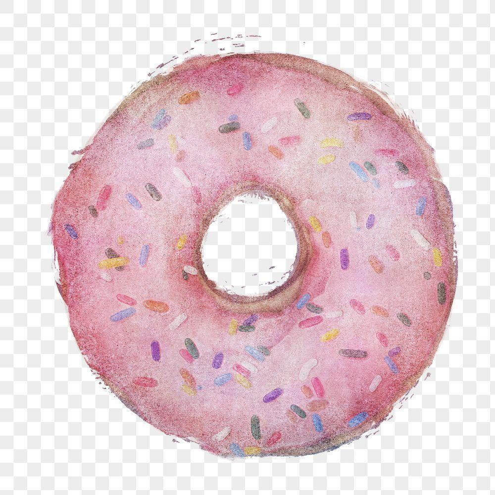 Glazed pink doughnut with sprinkles