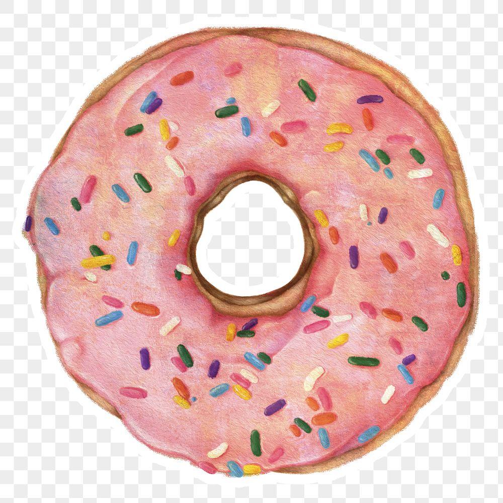 Glazed pink doughnut with sprinkles sticker design element