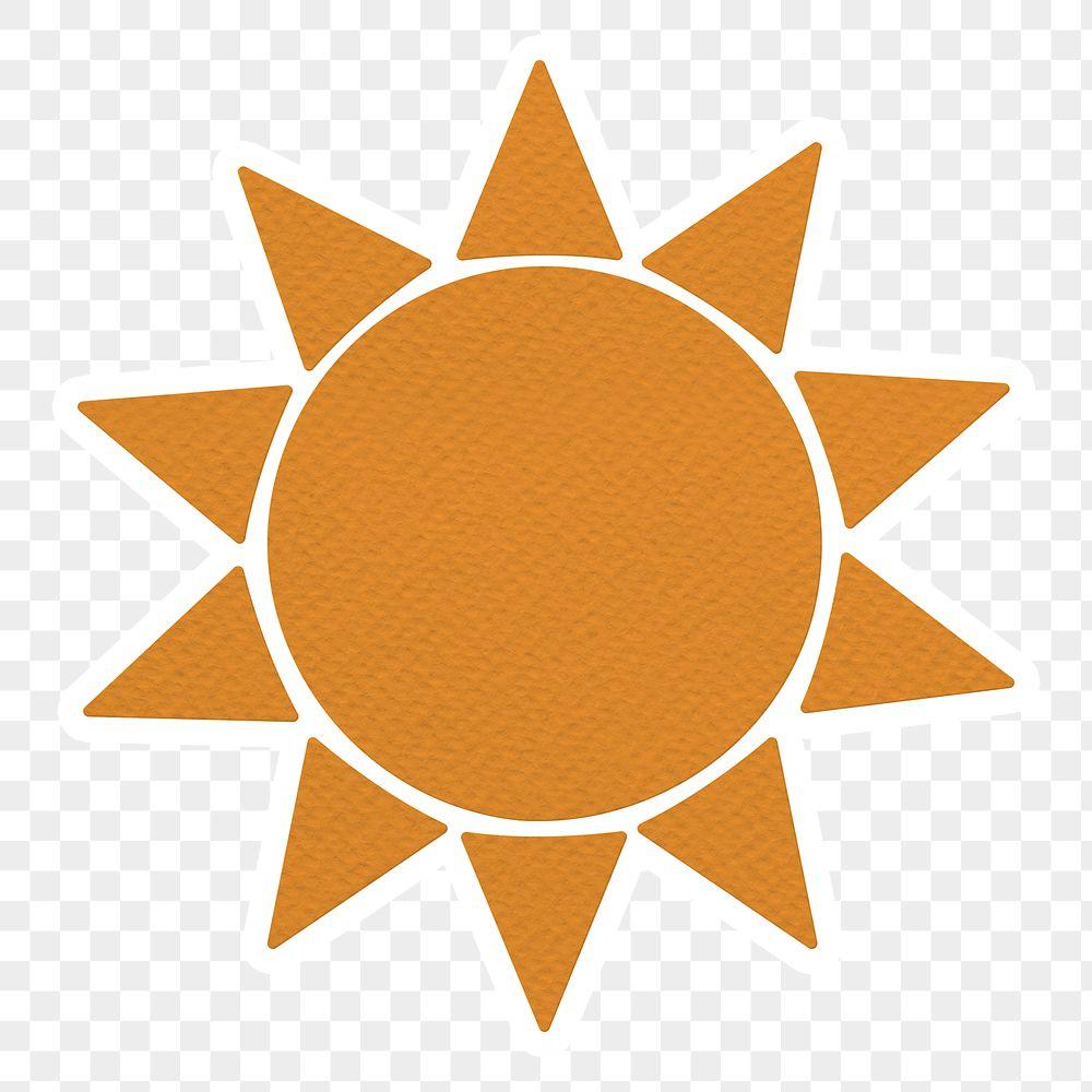 Orange textured paper sun sticker design element