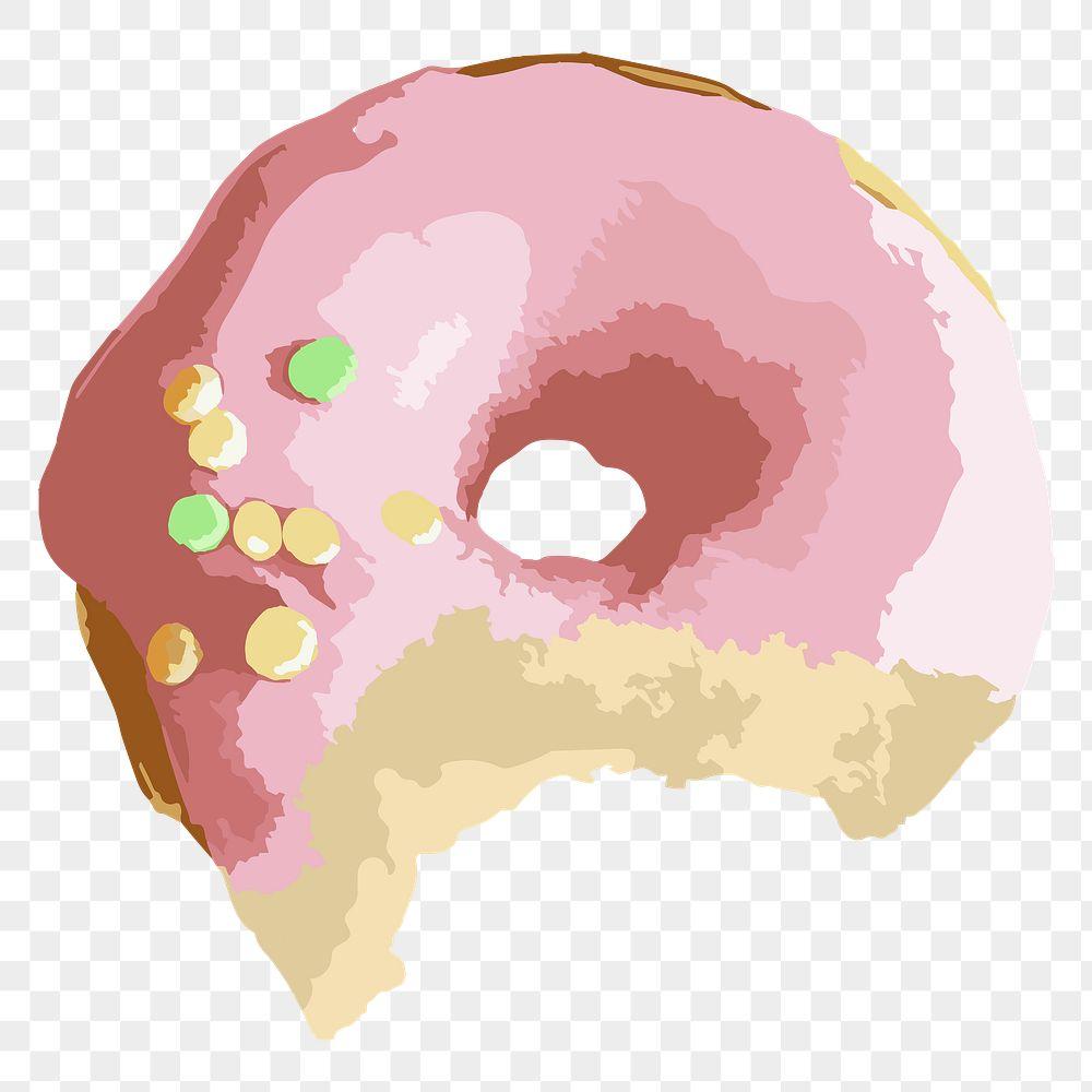 Vectorized bitten pink glazed donut design element