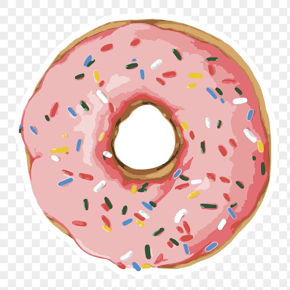 Vectorized pink glazed donut sticker with white border design element