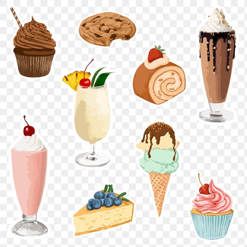 Vectorized dessert sticker overlay set design elements