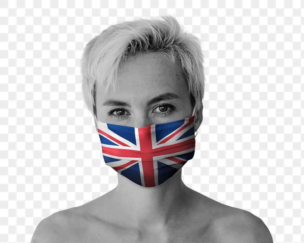 British woman wearing a face mask during coronavirus pandemic mockup