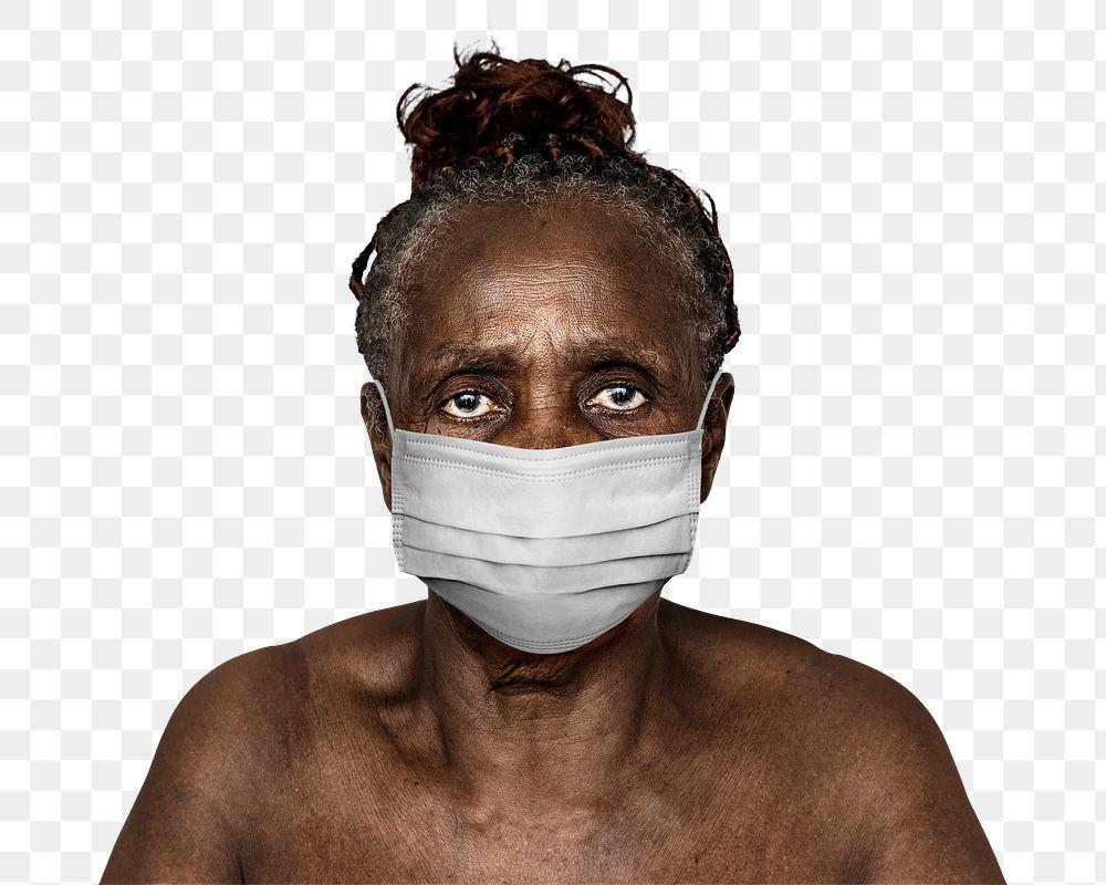 Black woman wearing a face mask during coronavirus pandemic mockup