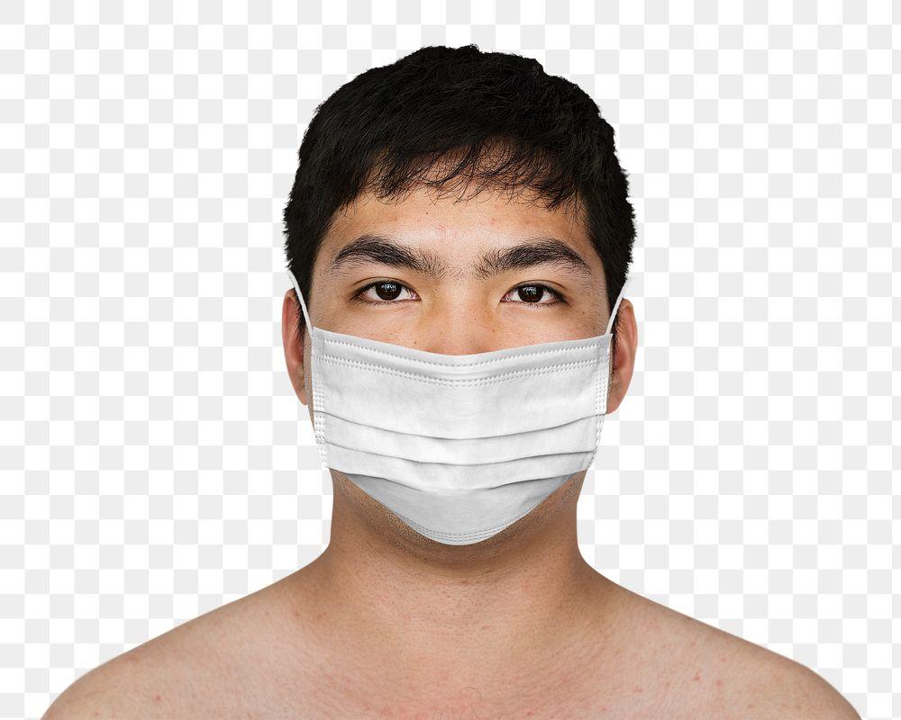 Asian man wearing a face mask during coronavirus pandemic mockup