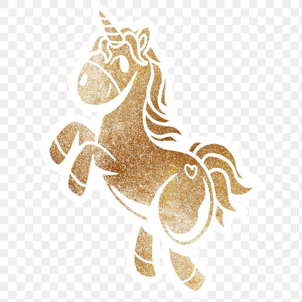 Shimmering golden unicorn sticker overlay with a white border design element