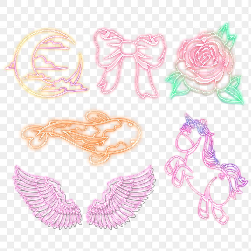 Cute fairytale sticker collection design resources