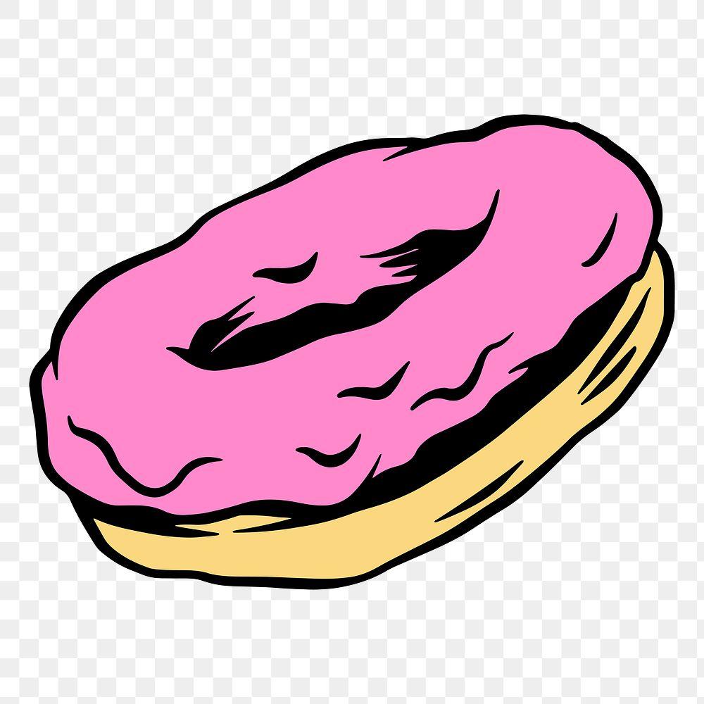 Pink glazed donut sticker design element
