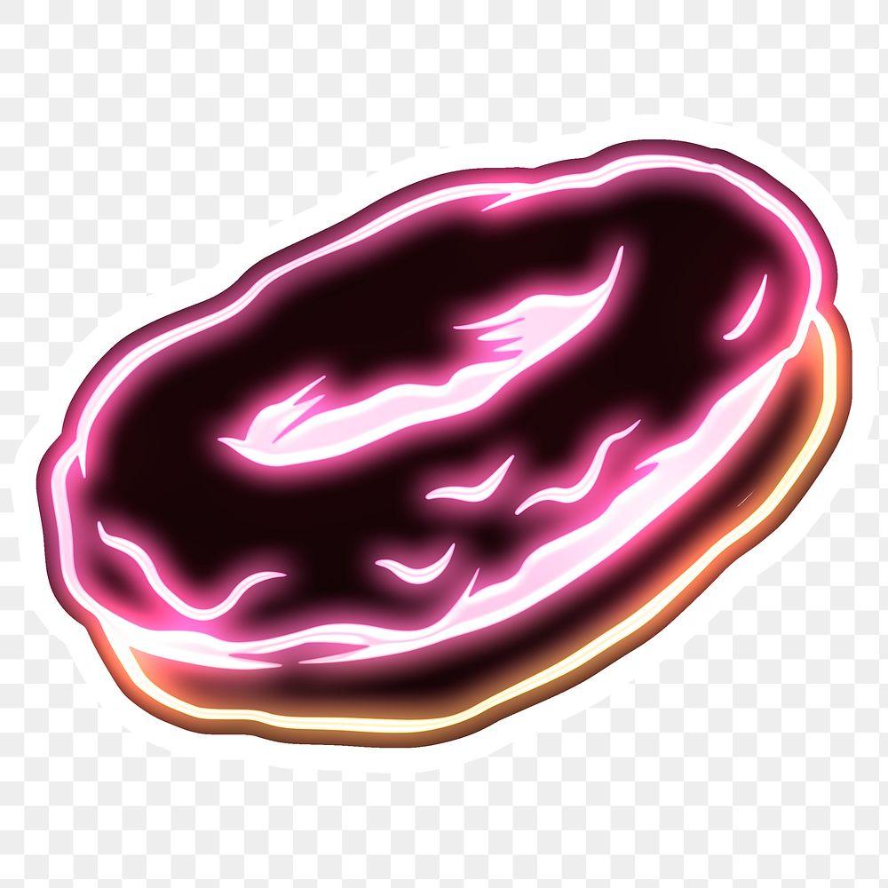 Neon pink donut sticker overlay design element