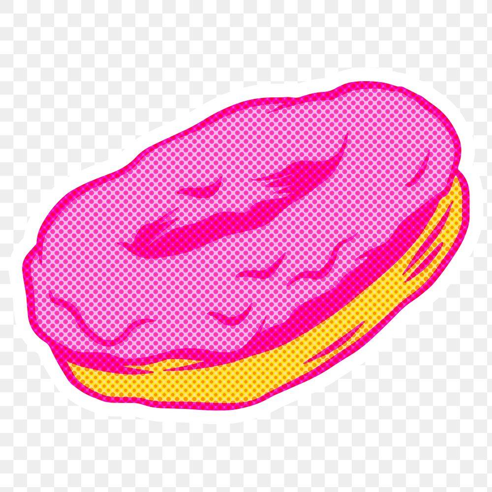 Pink glazed donut sticker overlay design resource