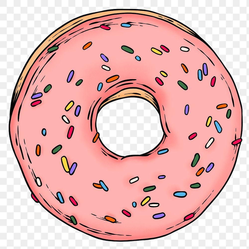 Pink glaze donut sticker design element