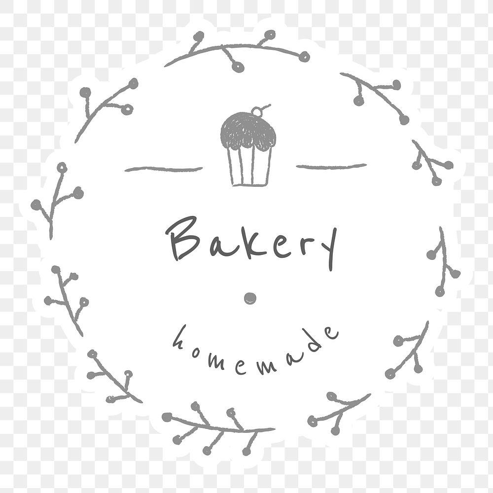 Bakery shop badge doodle style illustration