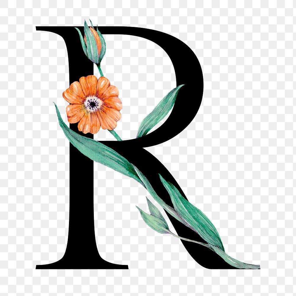 Png alphabet r sticker font floral typography