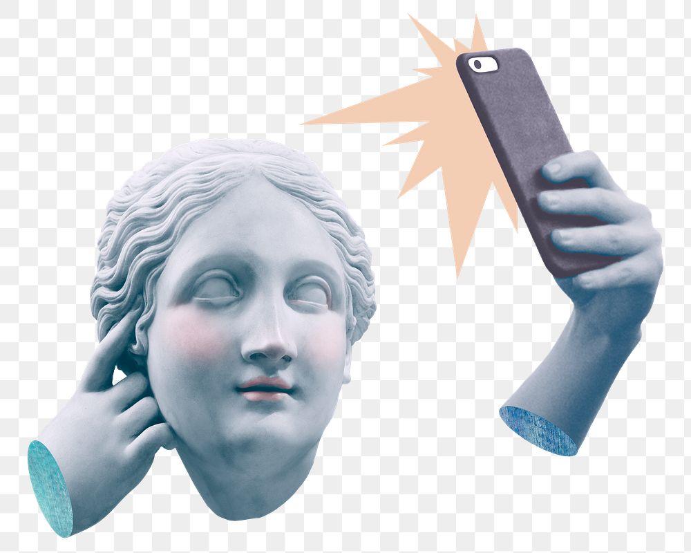 Png Greek selfie goddess statue social media addiction mixed media