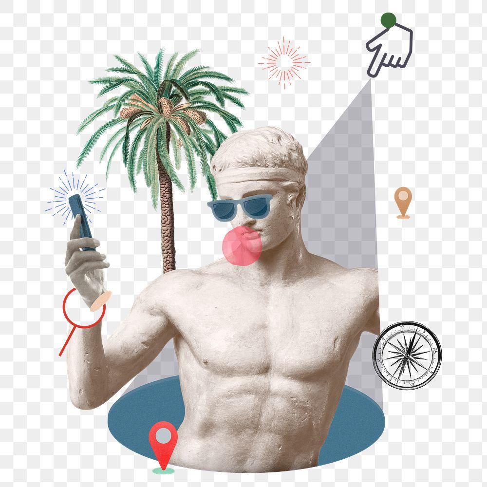 Png ravel blogger summer vibes Greek god statue social media post