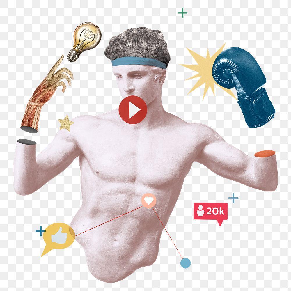 Creative png social media blogger Greek statue media mix post