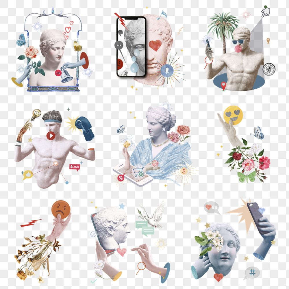 Aesthetic png social media addiction Greek marble statue theme collection