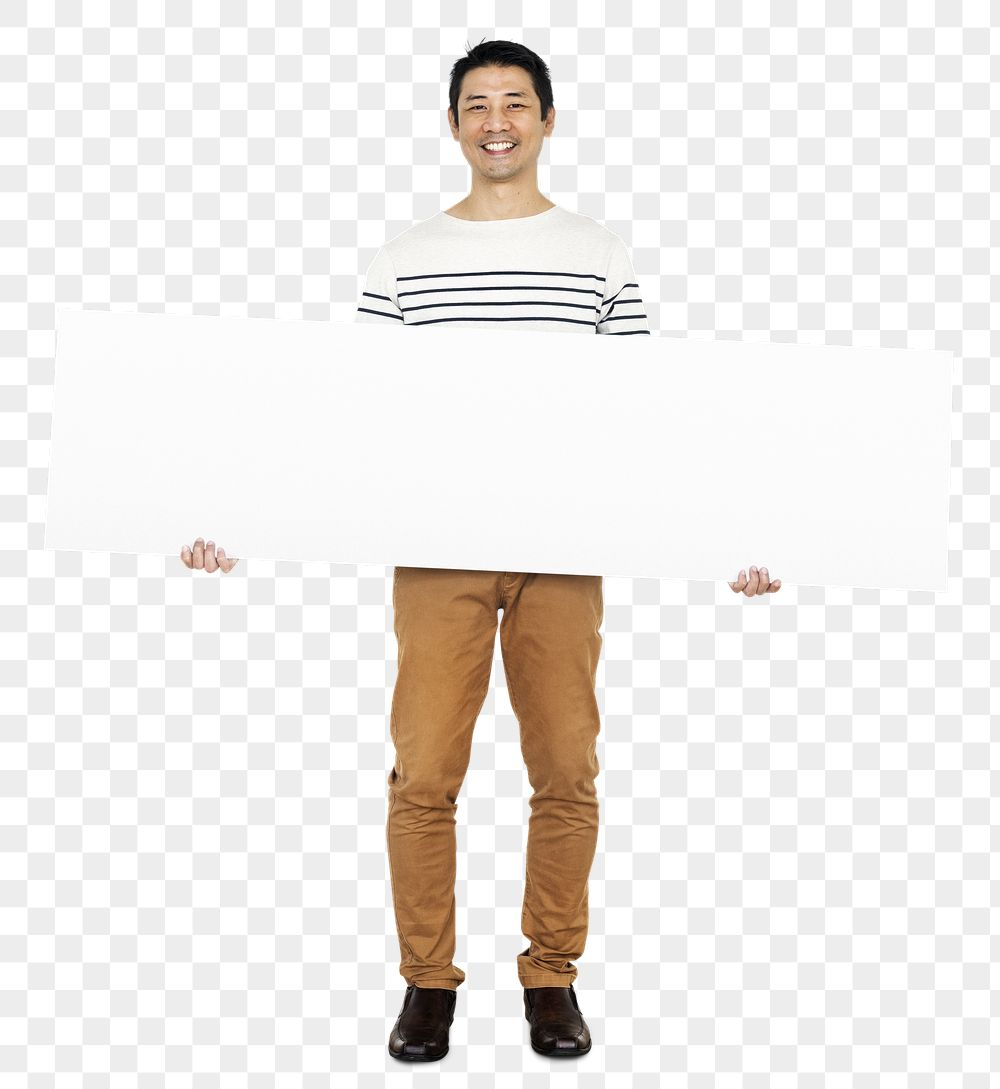 Cheerful man holding a blank banner transparent png