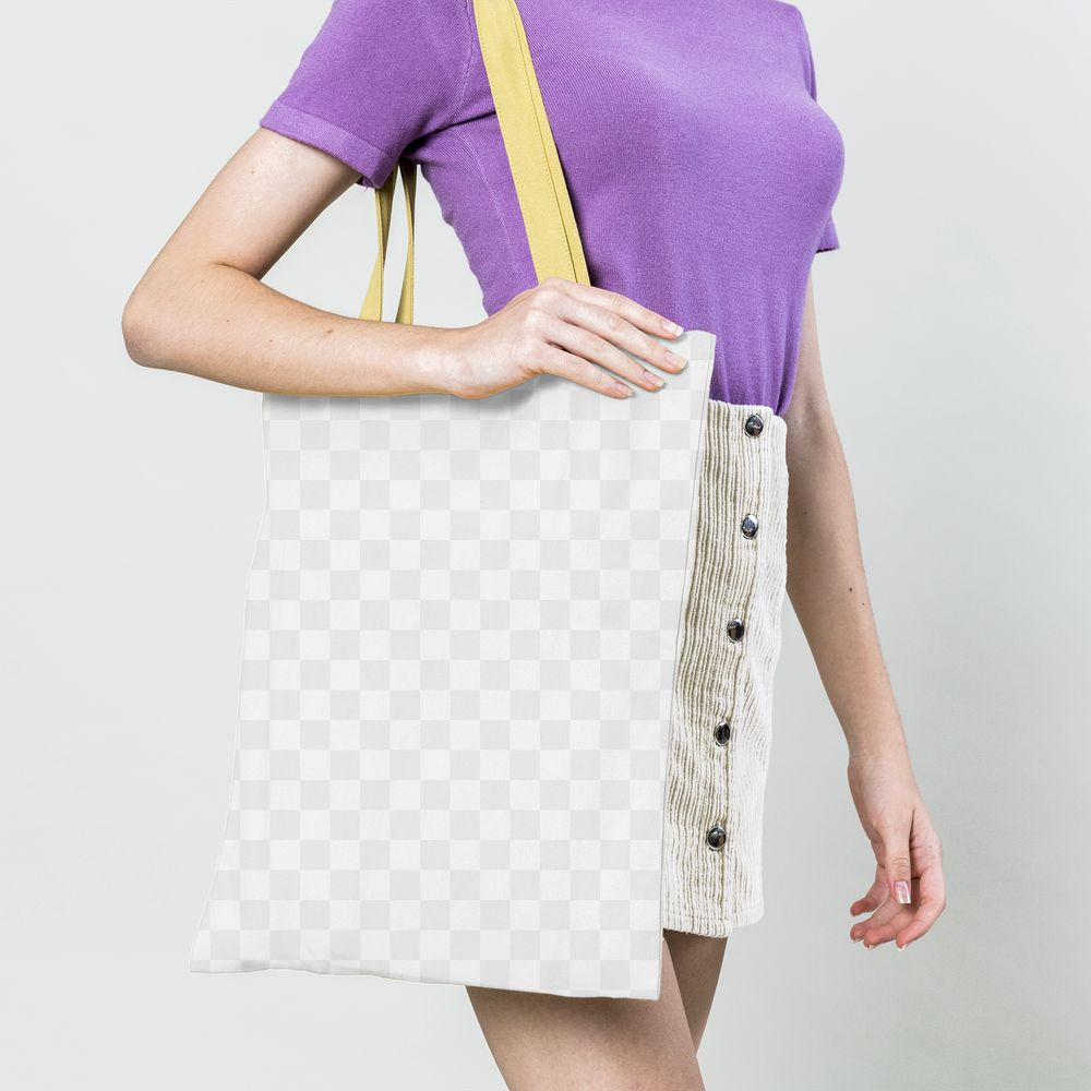 Woman with a tote bag transparent png