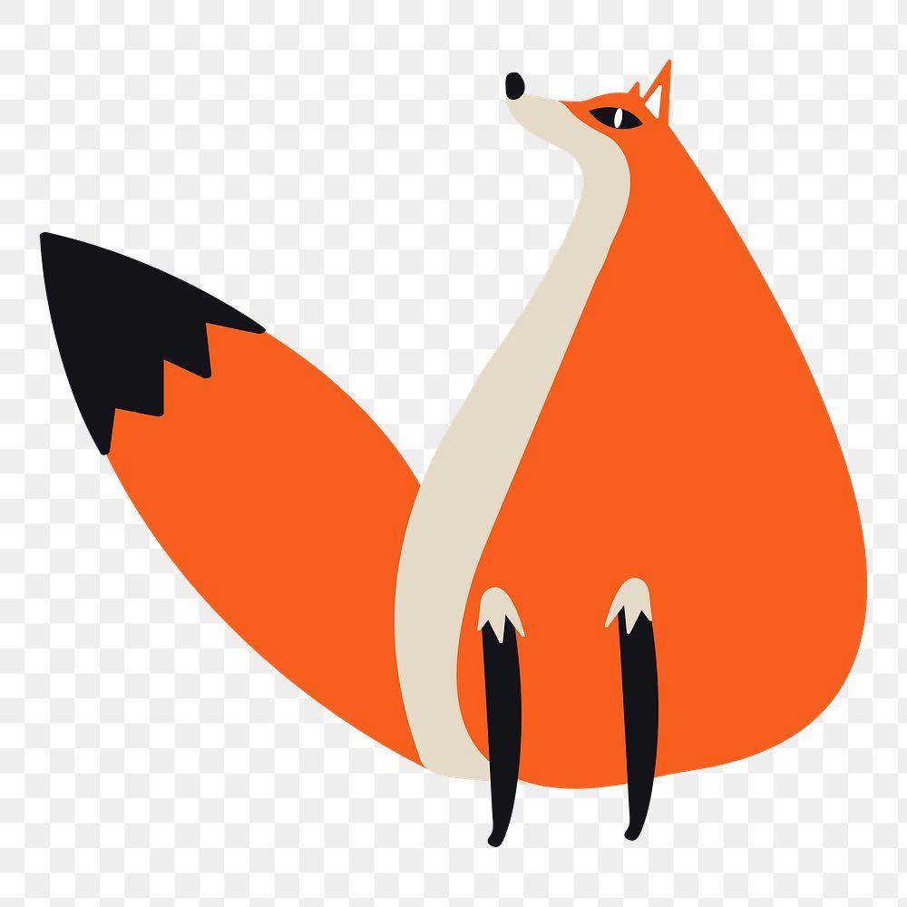 Fox png diary sticker orange cute wild animal illustration for kids
