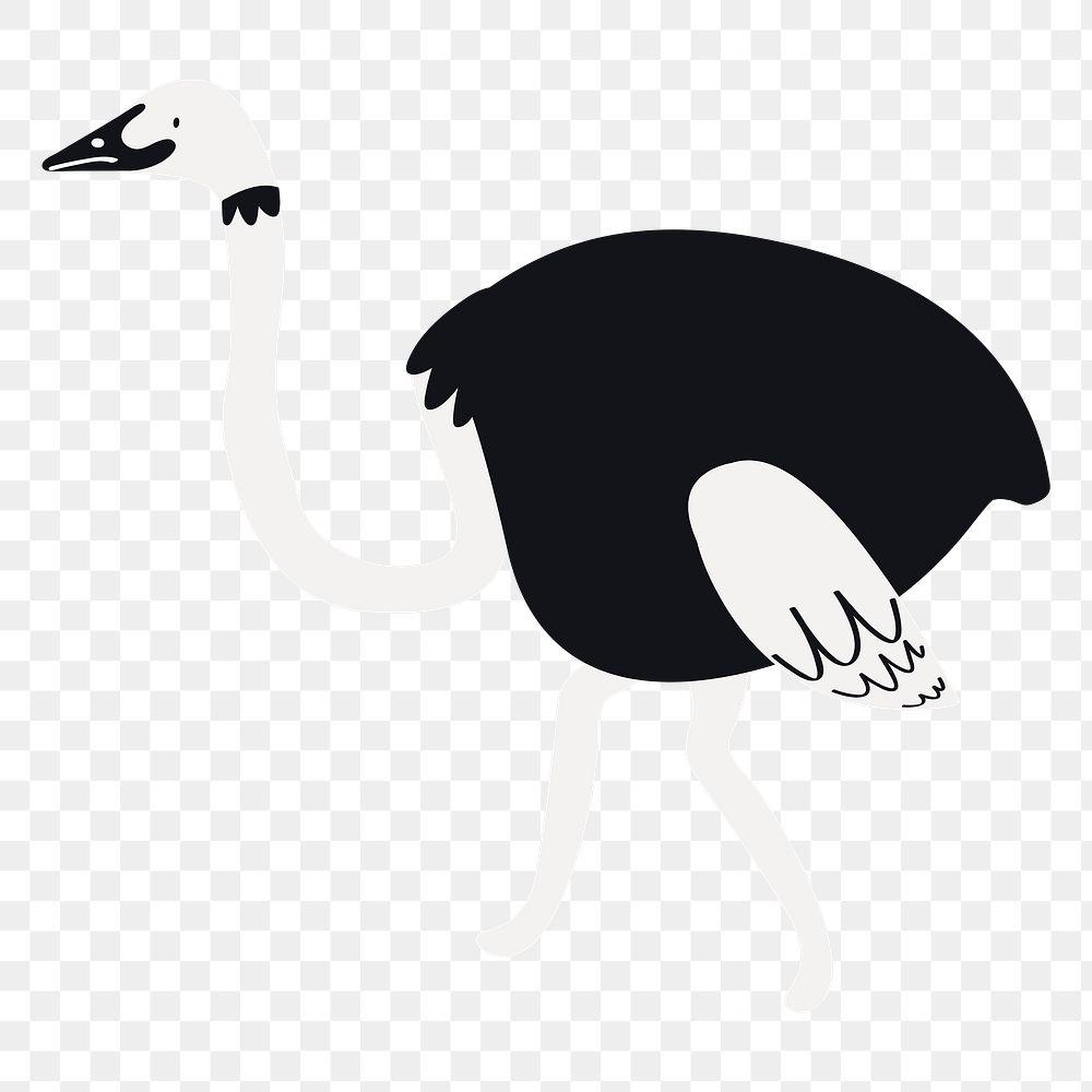 Ostrich png animal sticker black doodle cartoon for kids