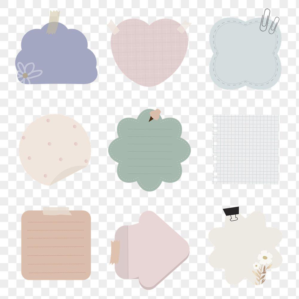 Set of notepaper on transparent