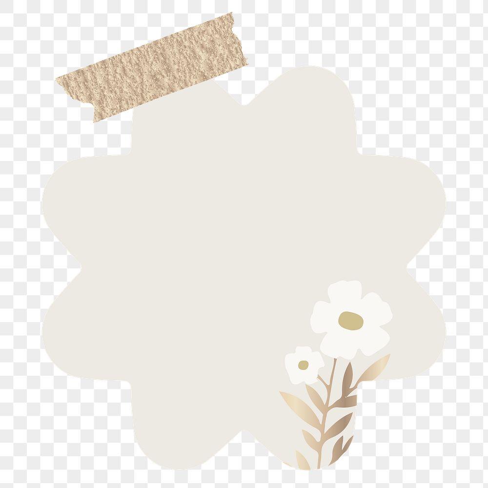 Blank flower shape notepaper set with sticky tape on transparent